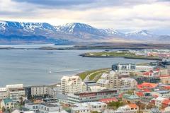Views top of Hallgrímskirkja church Iceland